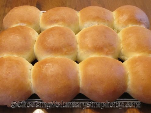 sandwich buns cooling on rack