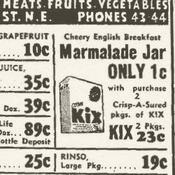 Kix cereal newspaper ad 3/21/1940