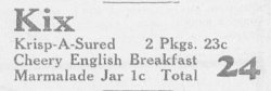 Kix cereal newspaper ad 3/28/1940