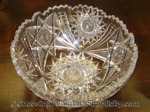example of an item I won't be replacing with a photograph... antique cut glass bowl